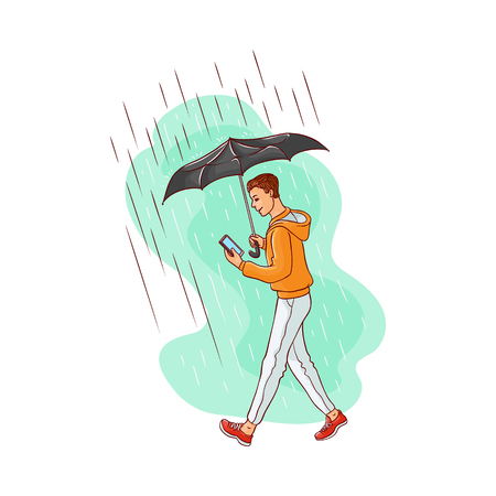 Vector sketch cartoon young caucasian man walking holding umbrella under rain jeans hoodie smiling looking in smartphone. Happy male character rainy summer weather isolated background illustration Illustration