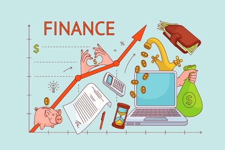 Personal finance management concept - upward chart with laptop, wallet, calculator, money, moneybag, piggy bank, coins flowing from faucet and money bag, vector illustration for sites and magazines Stock fotó - 98632414