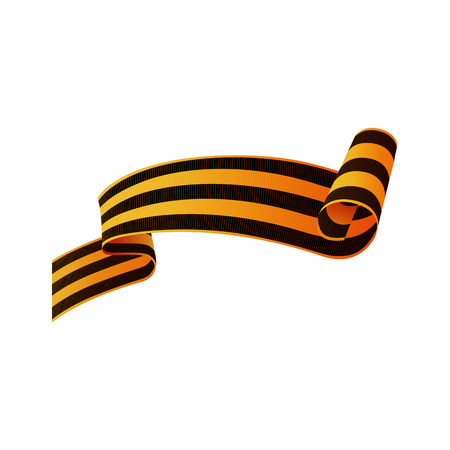Asymmetric Saint George ribbon, symbol of Russian Victory day with rolled end, realistic vector illustration isolated in white background. Georgian Russian Victory day ribbon, asymmetric, horizontal Иллюстрация