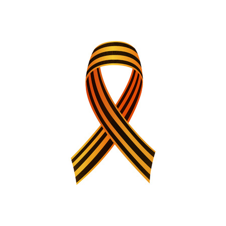 George ribbon, symbol of Russian Victory day, symmetric with crossed ends, realistic vector illustration isolated in white background. Georgian ribbon, symbol of Russian Victory day, with crossed ends