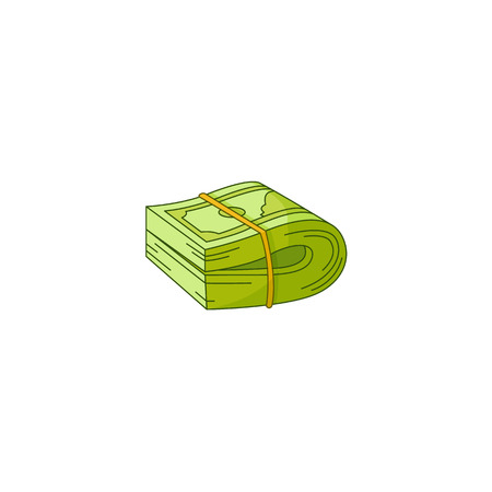 Vector flat cash money bill, bank hundred dollar banknotes bundle folded in two stretched by band. Business finance savings profit success jackpot banking loan credit. Isolated background illustration