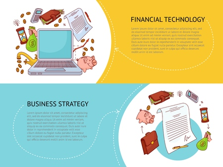 Set of two horizontal banner templates, financial technology and business strategy concept with finance and banking related objects and place for text, colourful vector illustration