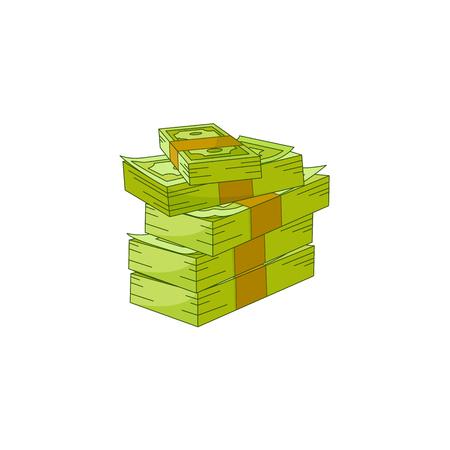 Vector flat cash money pile, bill stack in column. Bank hundred dollar banknotes. Business finance savings profit success, jackpot, banking loan credit symbol. Isolated illustration, white background