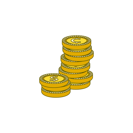 Vector flat golden dollar, cents column stack. money pile. Bank, business finance profit success, casino jackpot, banking loan credit symbol. Isolated illustration white background