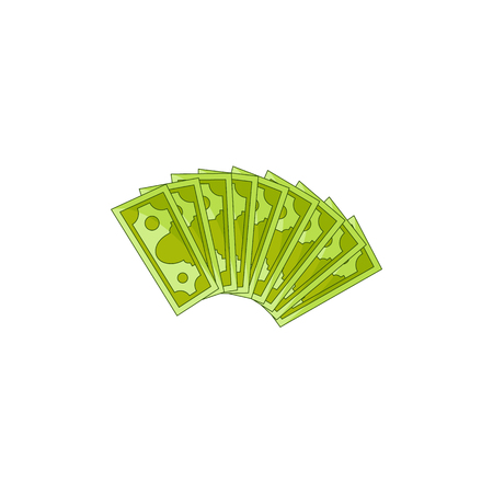 Vector flat cash money bill fan. Bank hundred dollar banknotes. Business finance savings profit success, jackpot, banking loan credit symbol. Isolated illustration, white background