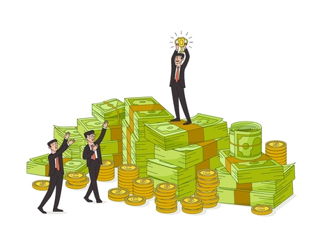 One businessman with golden winner cup standing on giant pile of money, banknotes, coins and two more admiring his success, vector illustration isolated on white background, business, finance concept