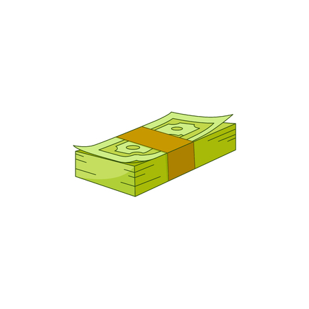 Vector flat cash money pile, bill stack. Bank hundred dollar banknotes. Business finance savings profit success, jackpot, banking loan credit symbol. Isolated illustration, white background