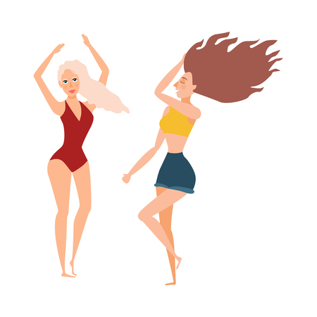 vector cartoon cute beautiful young woman, girls dancing at beach party set. Caucasian blonde girl in red swimsuit, brunette in caucasian clothing shorts, t on vacation isolated illustration