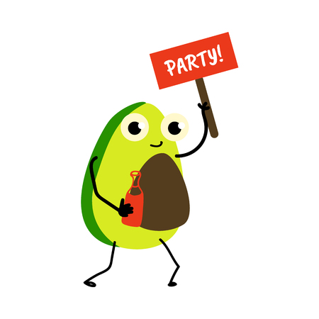 Funny avocado character holding Party sign and a cocktail glass, flat cartoon vector illustration. Isolated on white background.