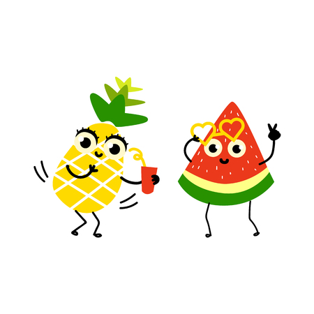 Vector flat fruit characters summer party set. funny happy watermelon in fancy heart glasses, pineapple holding cocktail glass. Summer vacation, party poster. Isolated illustration on white background. Ilustracja