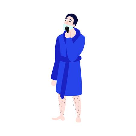 Vector flat man in bathrobe with hairy legs removing hair from neck, cheek shaving with razor epilator. Illustration