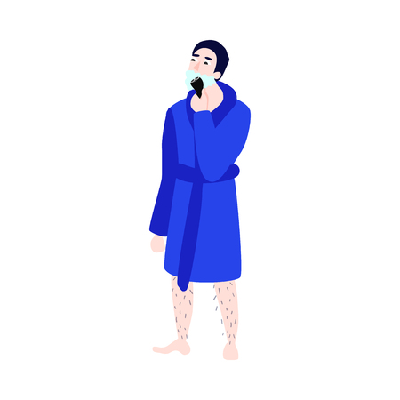 Vector flat man in bathrobe with hairy legs removing hair from neck, cheek shaving with razor epilator. Ilustração