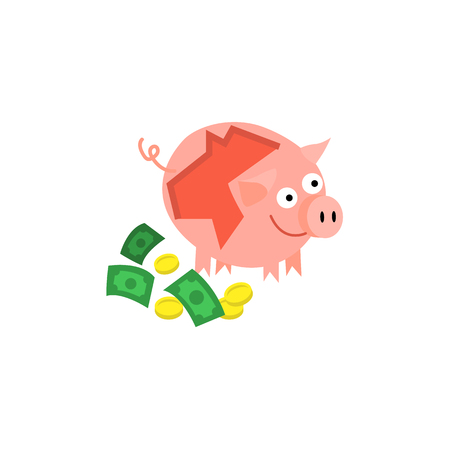 Cartoon repaired piggy bank with money near icon. Happy pig money box with facial expression. Business finance, banking rich and wealth concept. Illustration