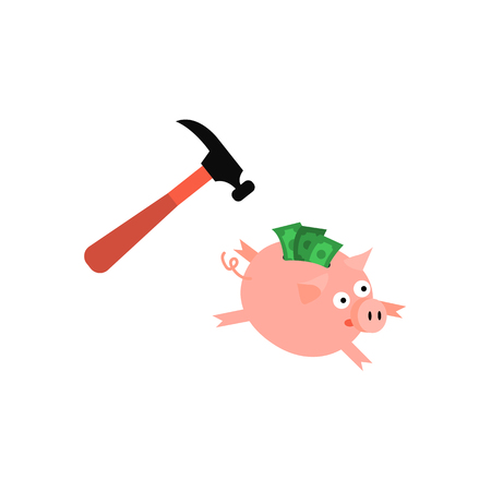 Cartoon piggy bank icon. Sad pig money box running away from golden claw hummer. Business finance, banking rich and weath concept. Vector isolated background illustration Standard-Bild - 98759530