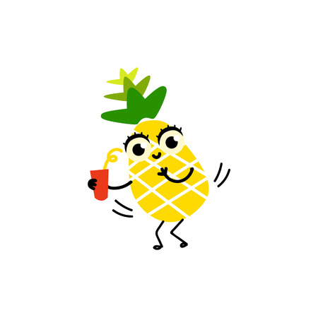 Vector flat funny pineapple happy fruit character smiling holding cocktail glass going to have fun.