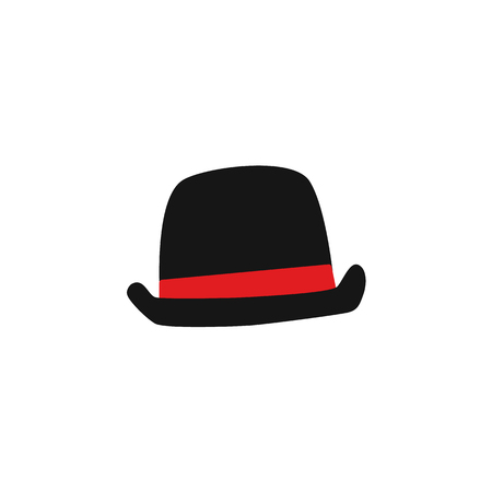 Vector flat black old fashioned gentleman, English British detective hat.