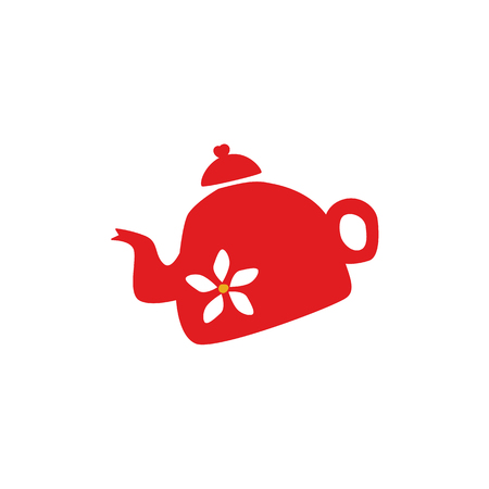 Vector flat ceramic red tea kettle with white flower print silhouette icon. British English breakfast symbol.