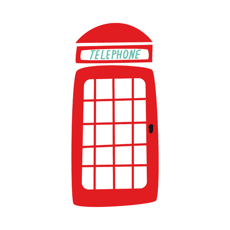 vector flat British red phone booth icon. isolated illustration on a white background.