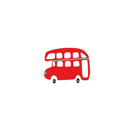 Vector flat red double decker British bus icon. Traditional English travel symbol, retro vehicle, vintage transportation. Stock Illustratie