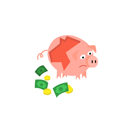 Cartoon repaired piggy bank with money near icon. Unhappy pig money box with sad facial expression. Çizim