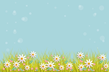 Green meadow grass, daisy chamomile flowers on blue bubble background. Spring summer sale, festive template for retail poster and advertising design wtih space for text. Vector illustration Illustration