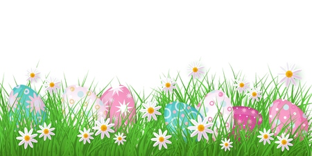 Easter holiday template on white background with spring festive elements - green meadow grass, decorated eggs, daisy chamomile flowers for poster advertising design. Vector illustration