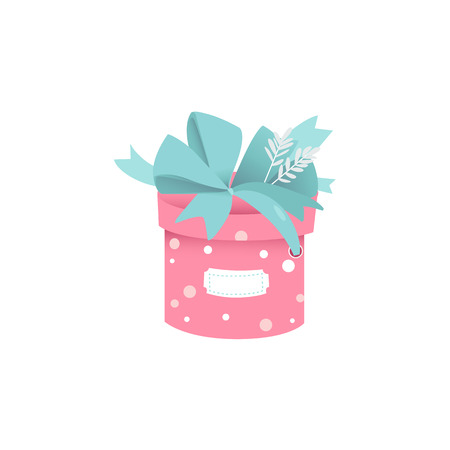 Cute round gift box of pink color with polka dot pattern and big lush blue bow with sticker for greeting sign isolated on white background. Vector illustration of cartoon present package.