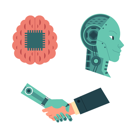Set of artificial intelligence images of handshake of business human and robot hands and machine head and brain with digital chip isolated on white background. Flat vector illustration.