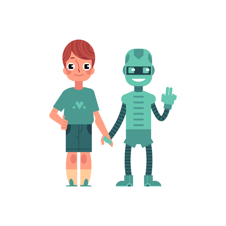 Artificial intelligence image of boy and his robotic friend holding each other hands isolated on white background. Friendly relations between machine and human concept. Flat vector illustration. Çizim