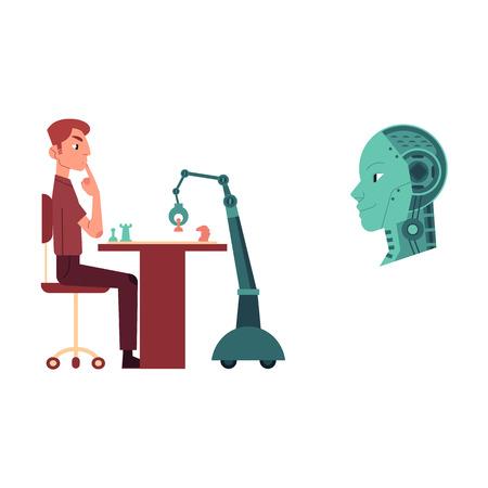 デジタルマイクロチップでチェスやマシンヘッドを演奏する若者とロボットの人工知能画像のセット。機械と人間の概念の友好関係。フラット ベク