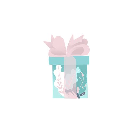 Beautiful blue gift box wrapped in decorative paper and transparent pink ribbon with bow isolated on white background. Cartoon vector illustration of present package for greeting card.