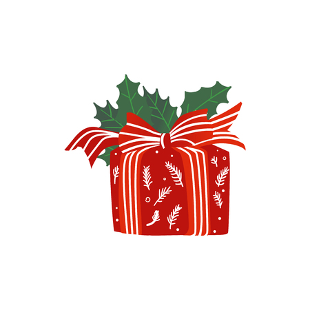 Christmas gift package wrapped with red decorative paper and striped ribbon with holly leaves isolated on white background. Cartoon present box for xmas and new year card. Vector illustration. Çizim