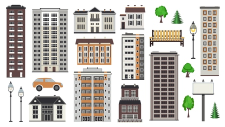Various city elements of multistorey buildings and municipal structures, public park and transport in flat style isolated on white background for real estate and property concept. Vector illustration. Çizim