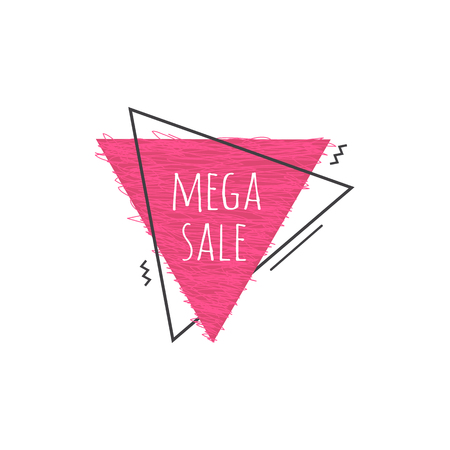 Grunge geometric badge with Mega sale sign - scratched pink triangular graphic shape isolated on white background for promotion or advertise banner, special price or sale sticker. Vector illustration.