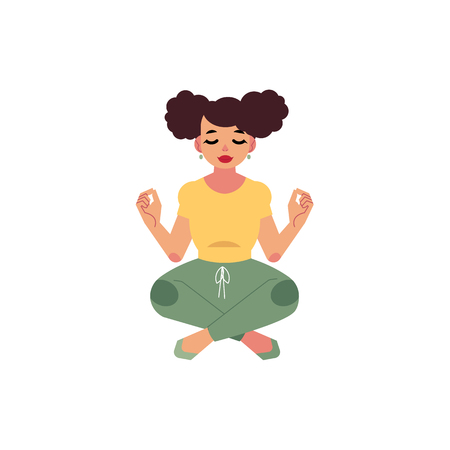 Hand drawn plump  girl with pigtails meditate in lotus posture in sport clothing. Cartoon style cute female character. Vector adult brunette overweight woman having fun, isolated illustration