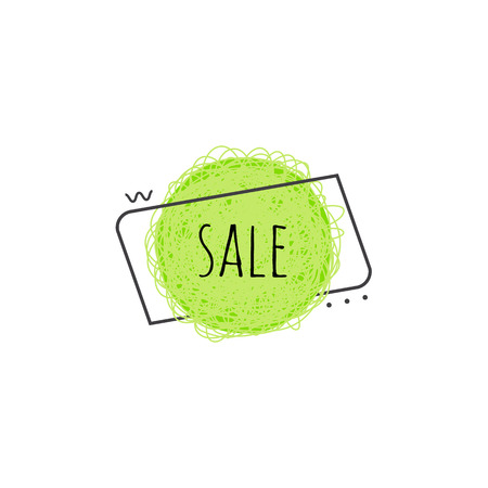 Sale grunge scratched banner - lime green round shape badge with sign isolated on white background, textured graphic element for promotion and advertising poster, vector illustration. Reklamní fotografie - 99146269