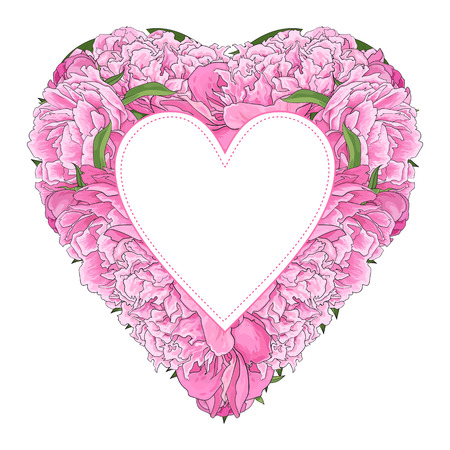 Pink peony bouquet in heart shape with sticker atop - copy space isolated on white background. Hand drawn sweet blossom flowers for romantic wedding greeting card or invitation. Vector illustration. Illustration