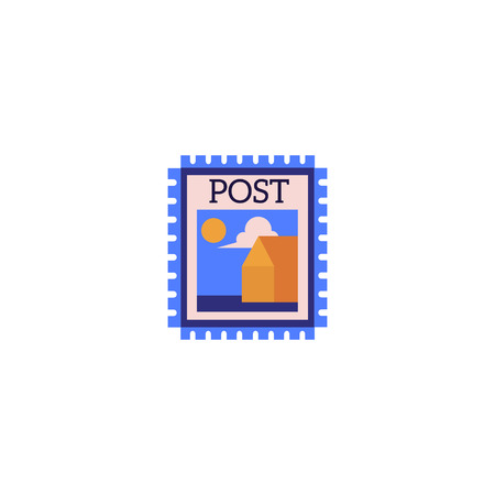 Postage stamp with landscape image and blue edges isolated on white background. Flat colorful postmark vector illustration icon for logistics and shipping business or philately. Ilustração