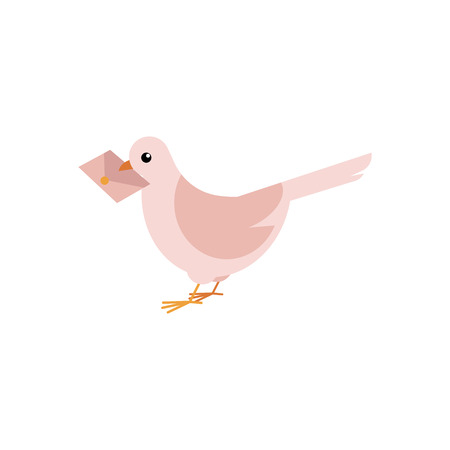 Postal dove carrying letter in his beak isolated on white background. Flat cartoon vector illustration of post pigeon delivering envelope. Courier and shipping symbol of bird bringing message.