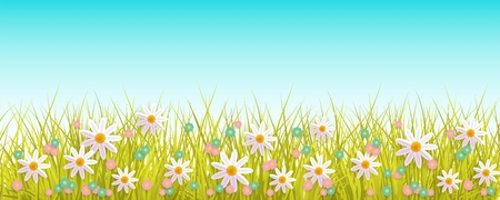 Green meadow grass, daisy chamomile flowers on blue sky background. Spring summer sale, festive template for retail poster and advertising design with space for text. Vector illustration