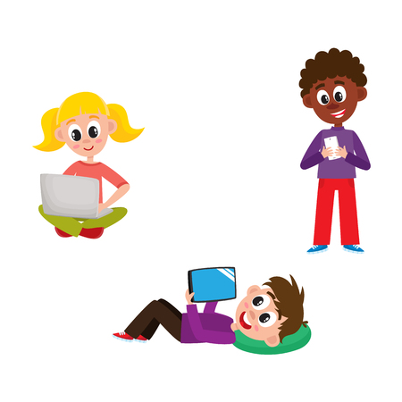 Children with hi-tech gadgets set - little kids with laptop, mobile phone and tablet isolated on white background. Colorful cartoon characters with modern technology devices, vector illustration.