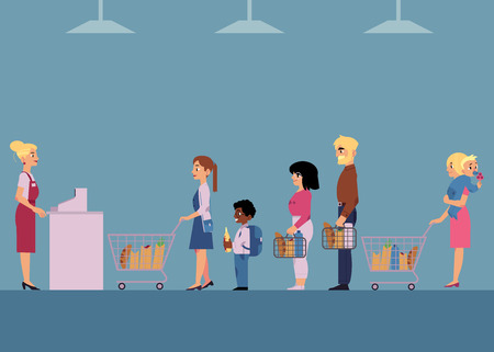 Customers in big queue at cash desk with female cashier at groceries store. Vector cartoon illustration of different male and female characters with shopping baskets in line at supermarket. Stock Illustratie