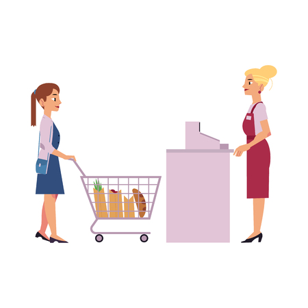 Supermarket cash desk with female cashier in uniform and apron behind equipment and young woman with food goods in storage hand shopping cart isolated on white background, vector illustration.