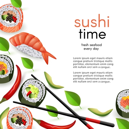 Japanese sushi restaurant template with rolls and ebi nigiri with chopsticks isolated on white background.