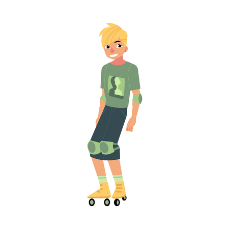 Roller skating young man with sports protection isolated on white background.