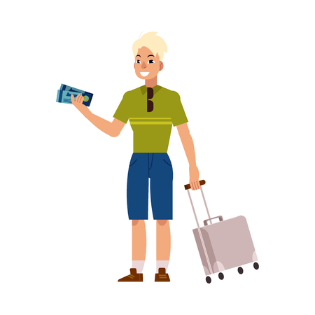 Young man in summer clothing with silver travel suitcase, plastic bag holding airplane tickets smiling.