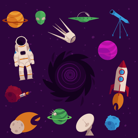 Space, cosmos objects icon set.