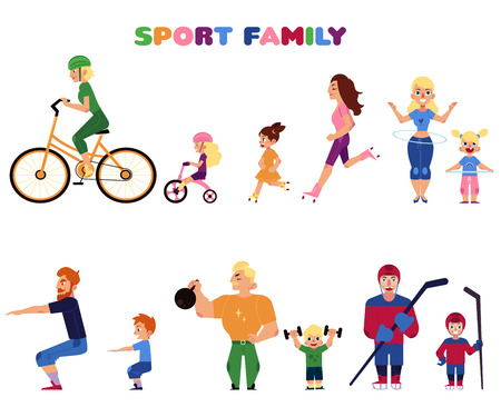 Set of people, parents and kids, doing sport activities together - cycling, running, twirling hula hoop, weightlifting, squatting, playing hockey, vector illustration isolated on white background