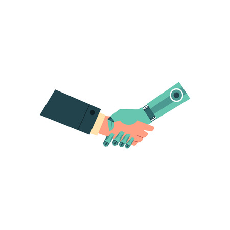 Artificial intelligence image with handshake of business human and robot hands isolated on white background. Friendly relations between machine and man design concept. Flat vector illustration.