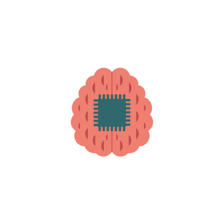 Artificial intelligence image of mechanical robot brain with integral computer microchip isolated on white background. Future machine engineering concept. Flat vector illustration.